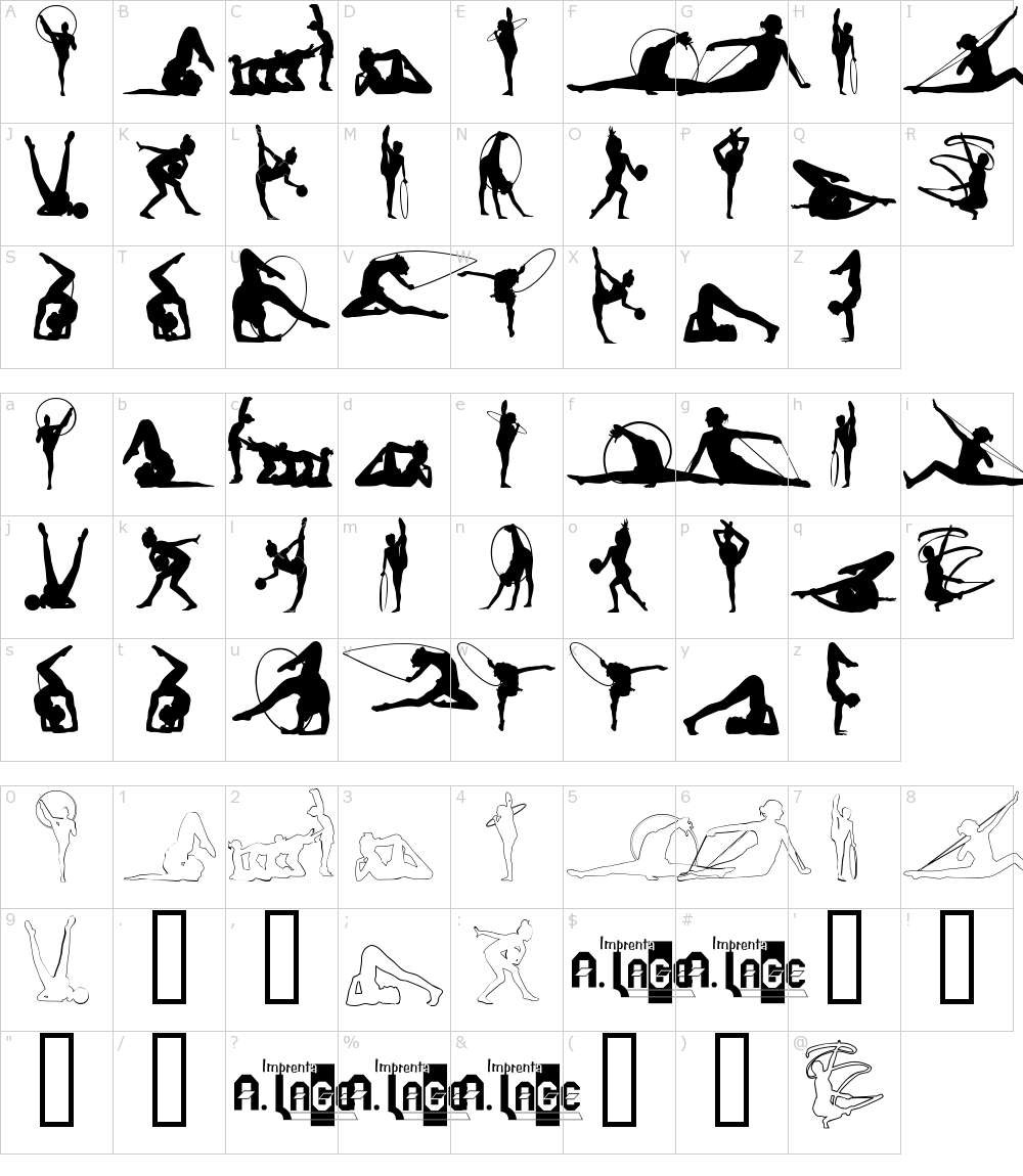 Caratteri del Font - Gimnasia