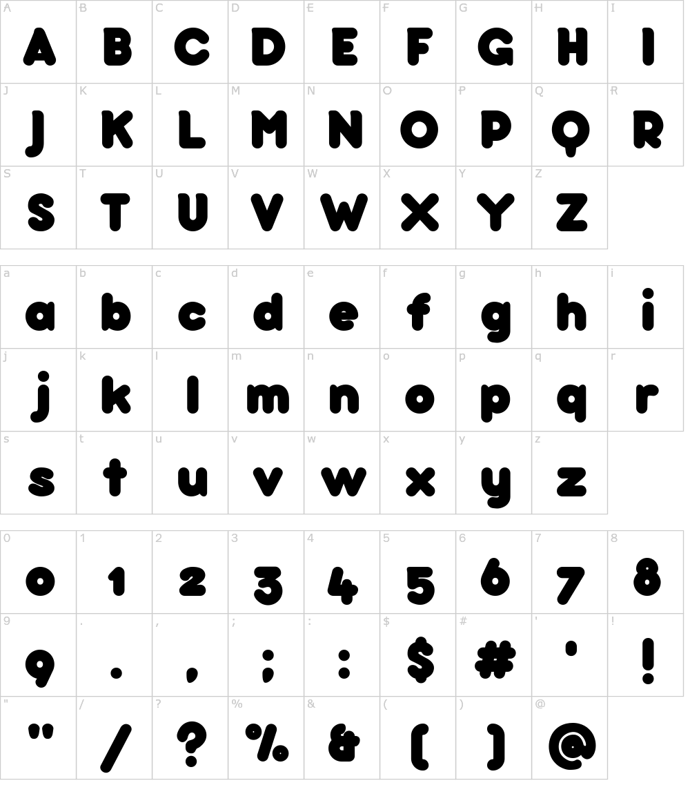 Caratteri del Font - Bubbleboddy