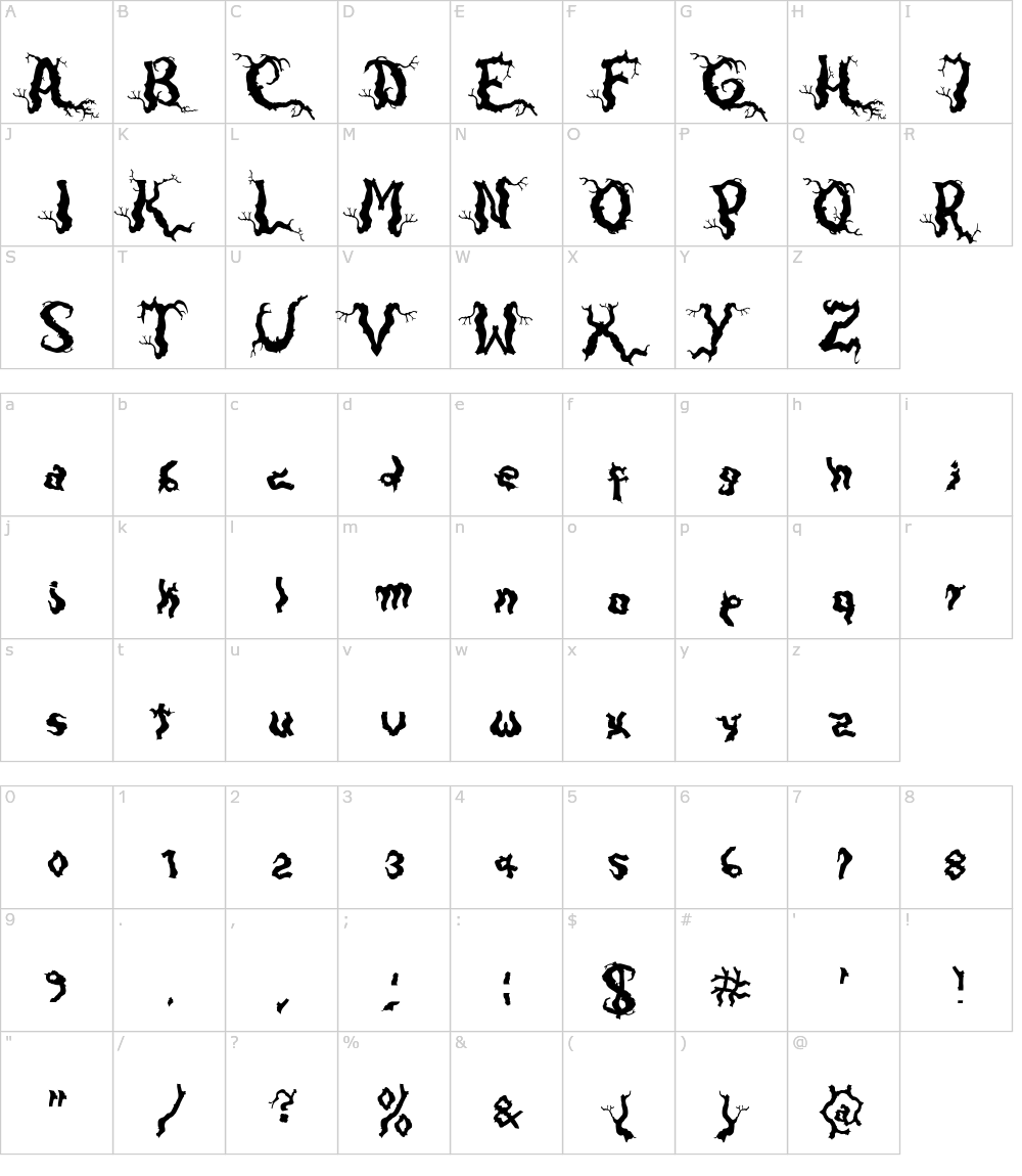 Caratteri del Font - Darkwood