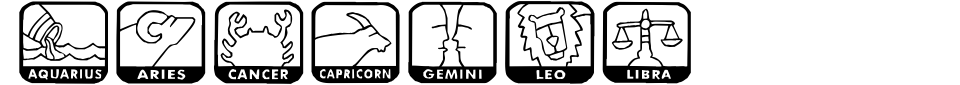 KR Zodiac Dings Font Preview