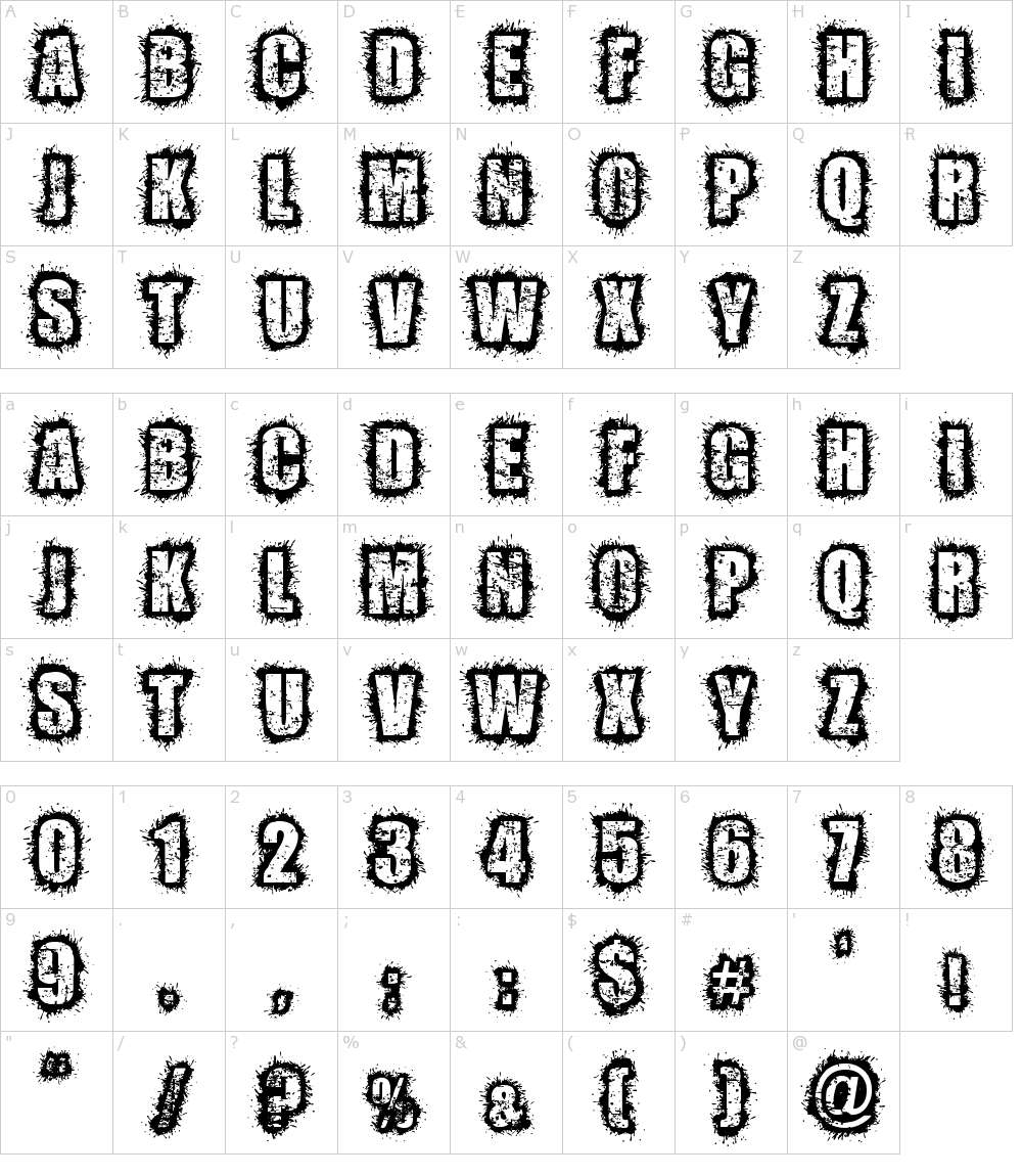 Caratteri del Font - Zombified