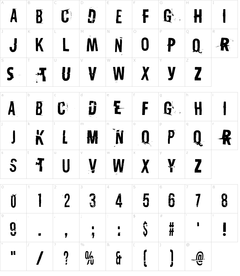 Caratteri del Font - Destroy X