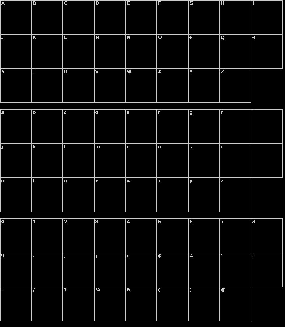 Caratteri del Font - Gabardina