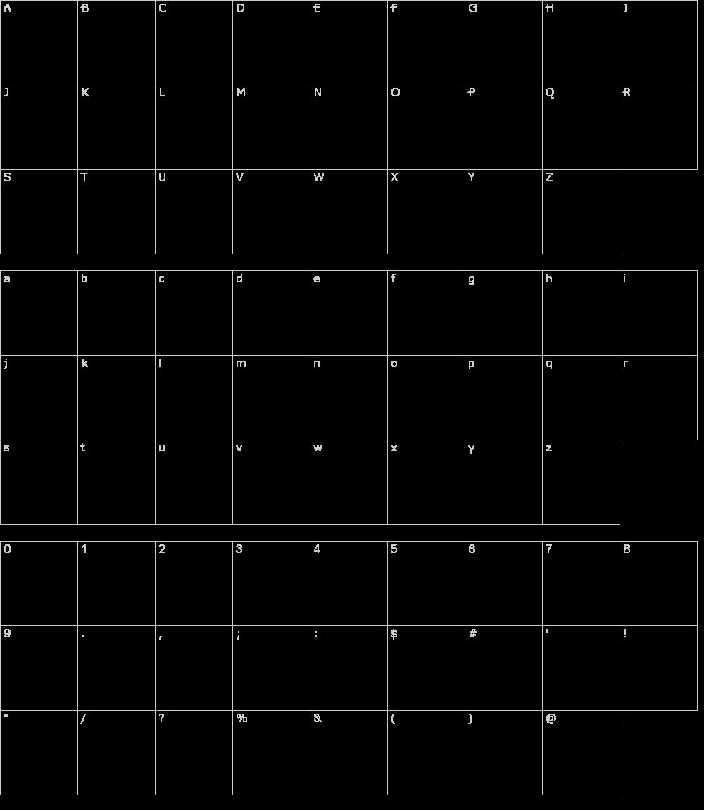 Zeichen der Schriftart: Italic Bricks
