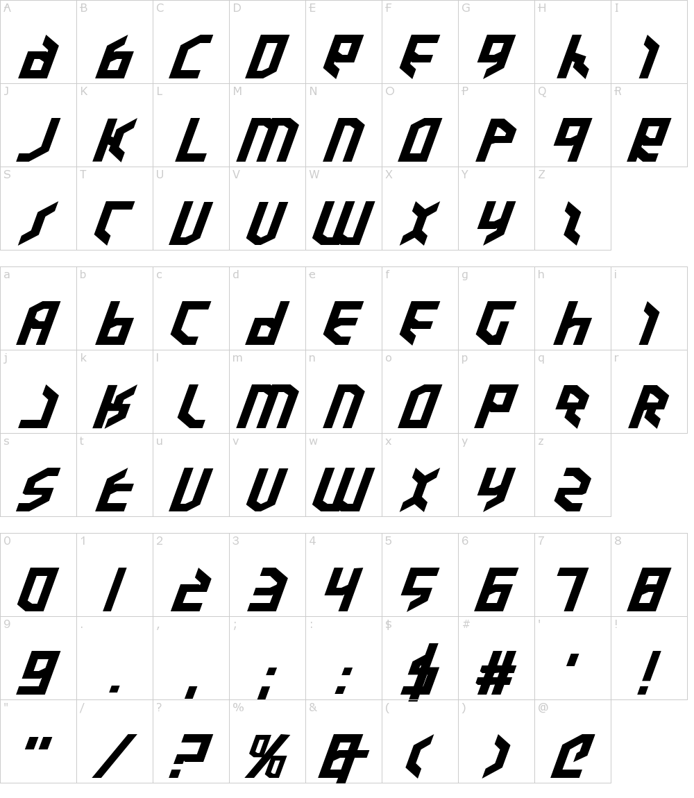 Caratteri del Font - Valkyrie