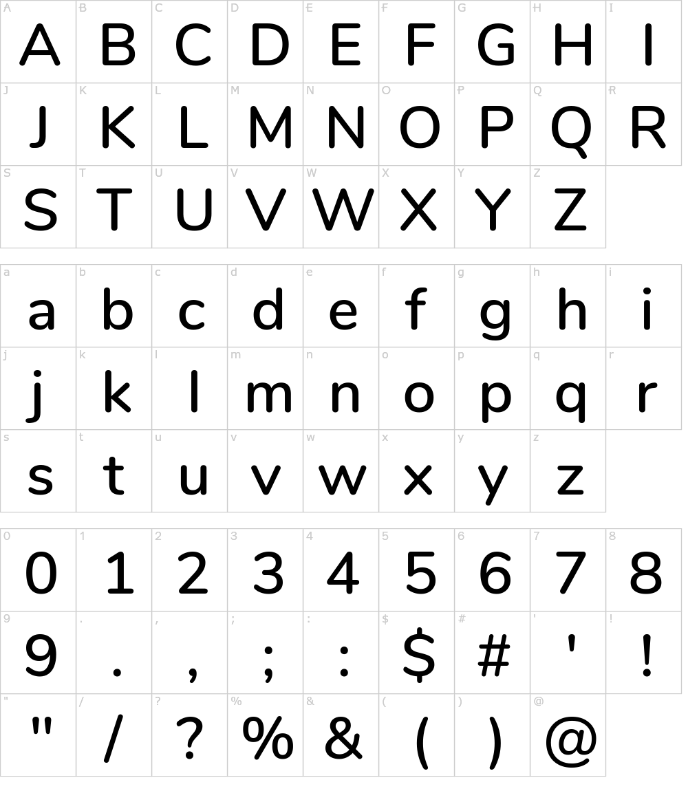 Caratteri del Font - Nunito