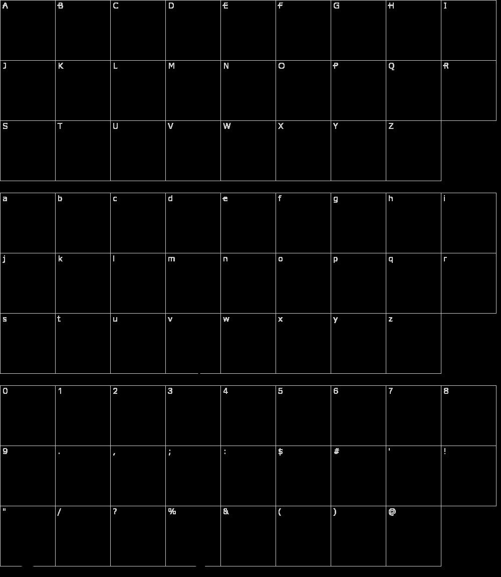 Characters: Half Circle Alphabet XP Font