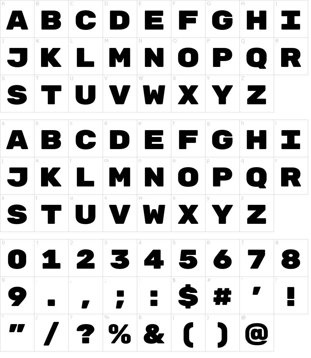 Caracteres de la fuente - Rubik Mono One