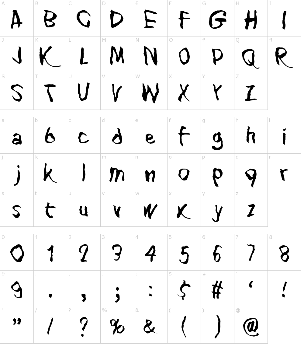 Characters: Blank Eye Font