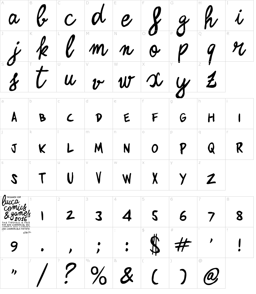Caratteri del Font - Zerocalcare