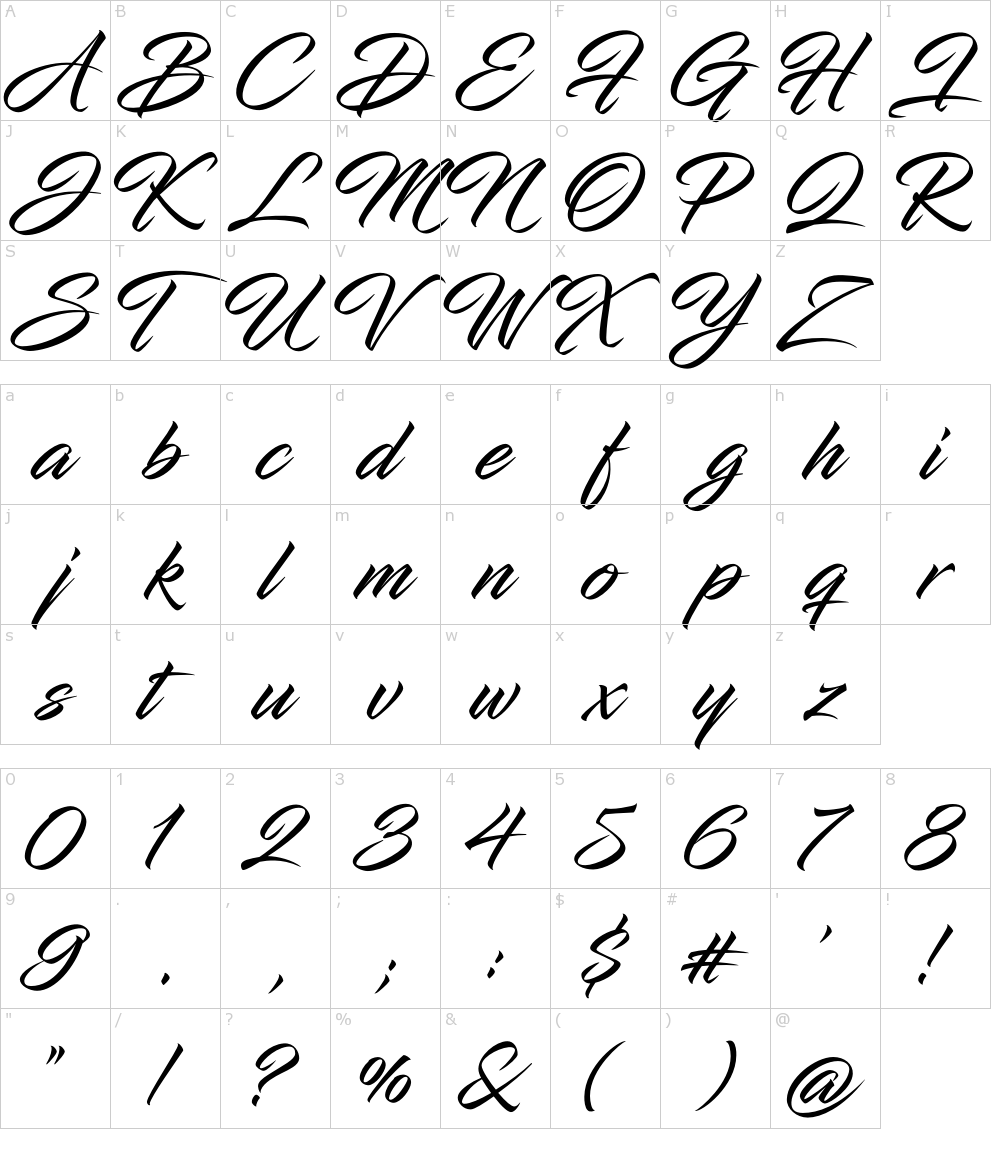 Caratteri del Font - Infinite Stroke