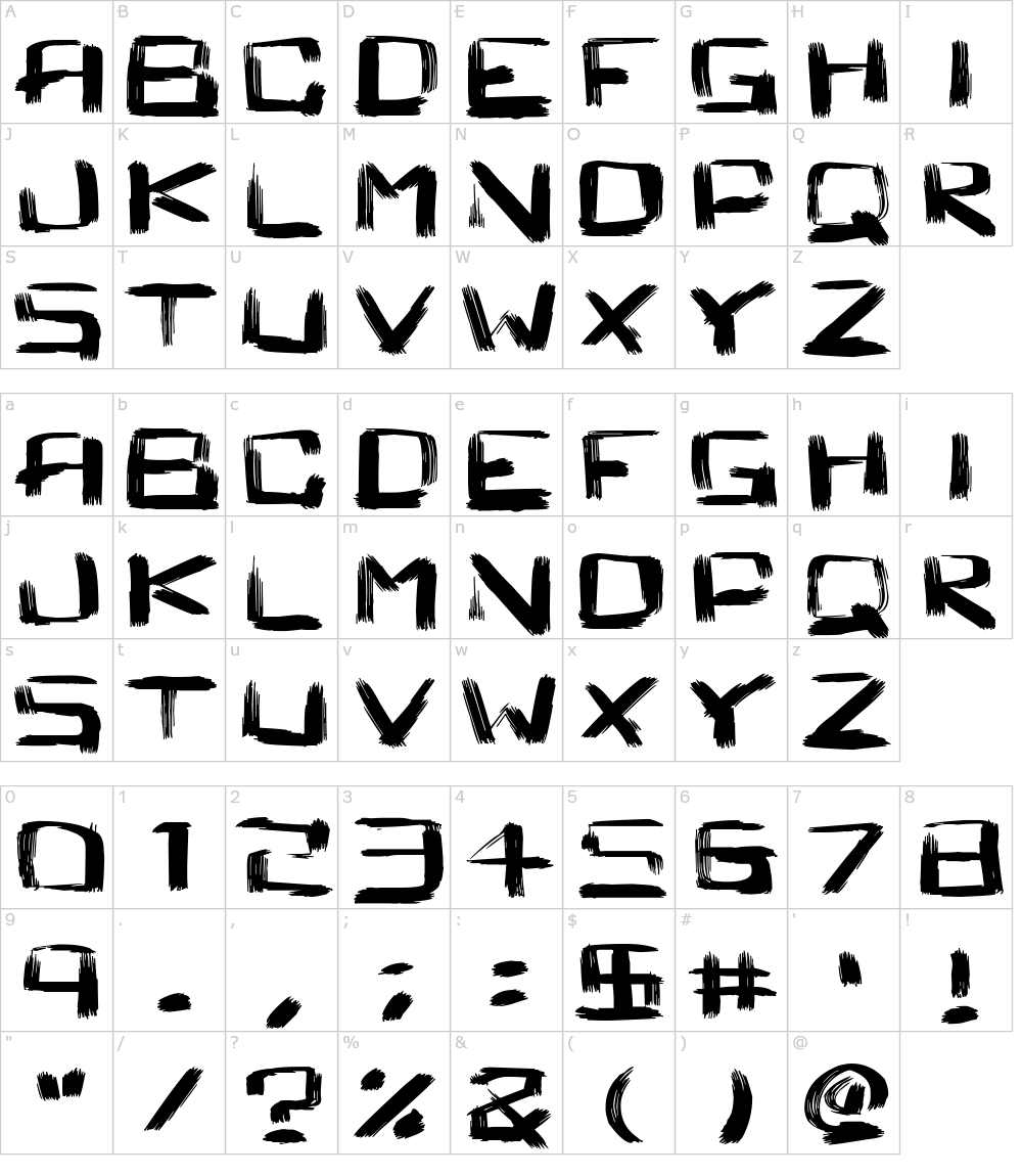 Caractères de la police d écriture - Square Brush