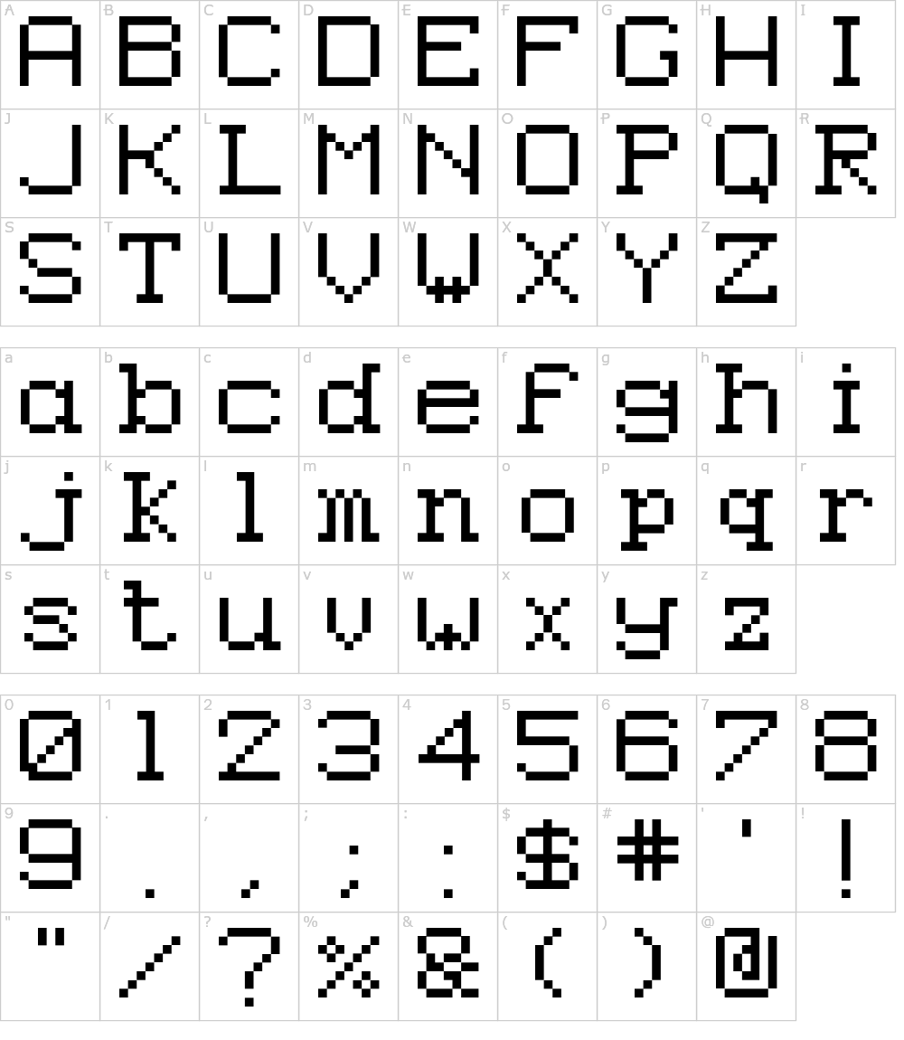 Caracteres da fonte - Epson Pixeled