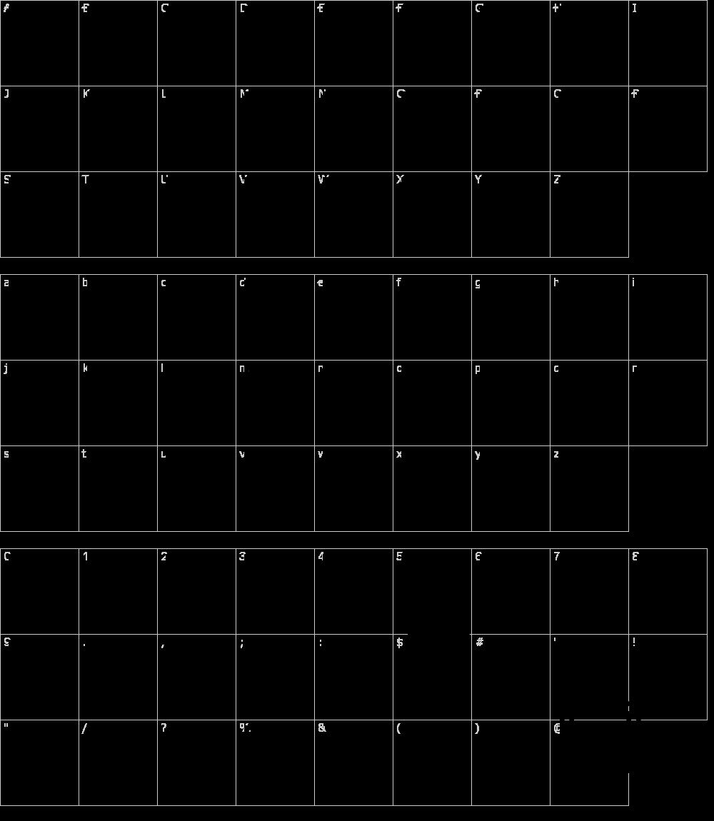 Zeichen der Schriftart: Cube [Jason Curdy]
