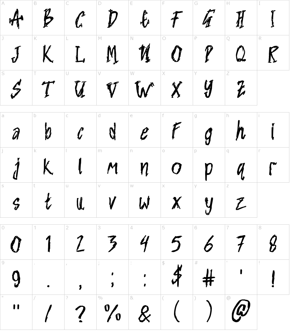 Caratteri del Font - Nightmare [Randi Ilhamsyah]