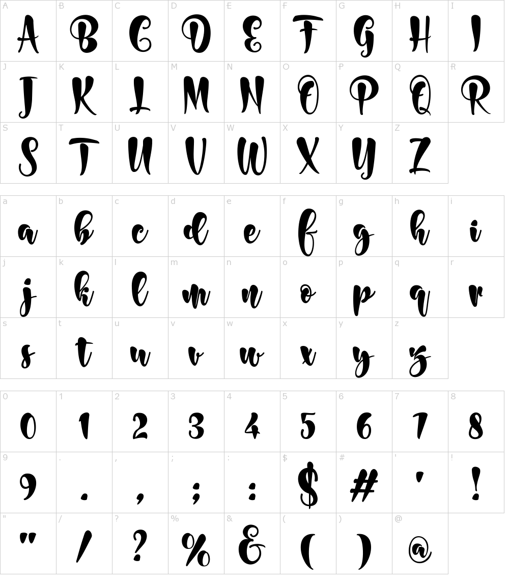 Caratteri del Font - Bonita