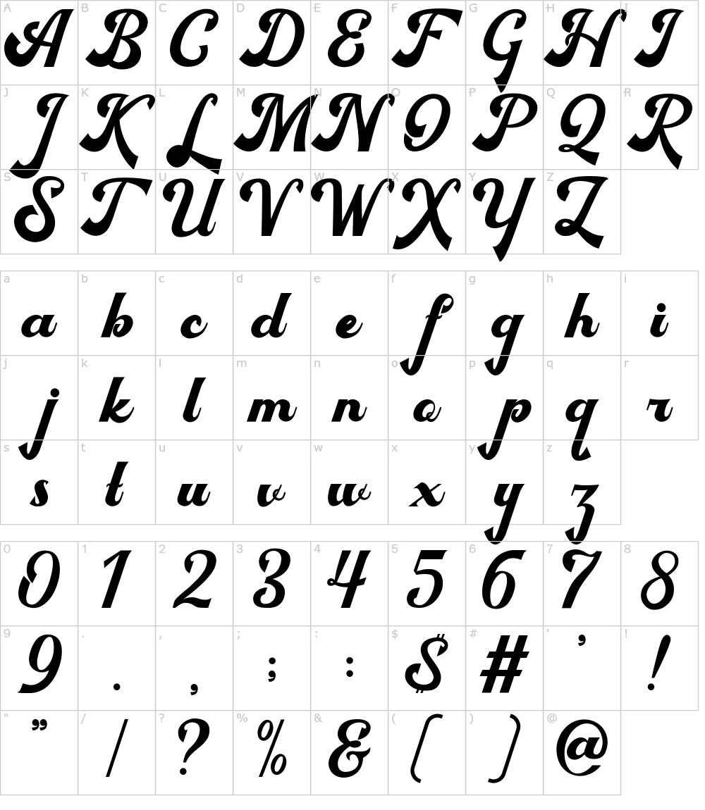 Caratteri del Font - Bigfun