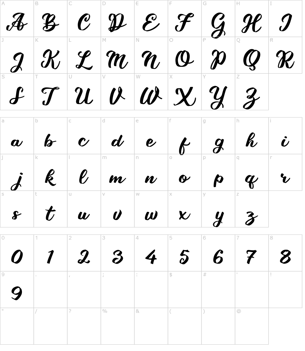 Caratteri del Font - Takashi Minta