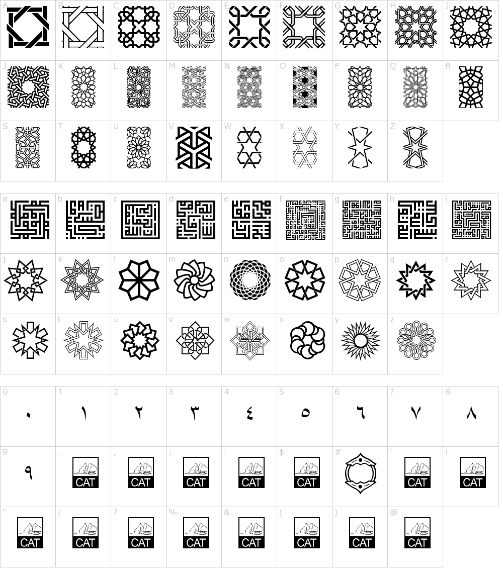 Caracteres da fonte - Kufi Pattern