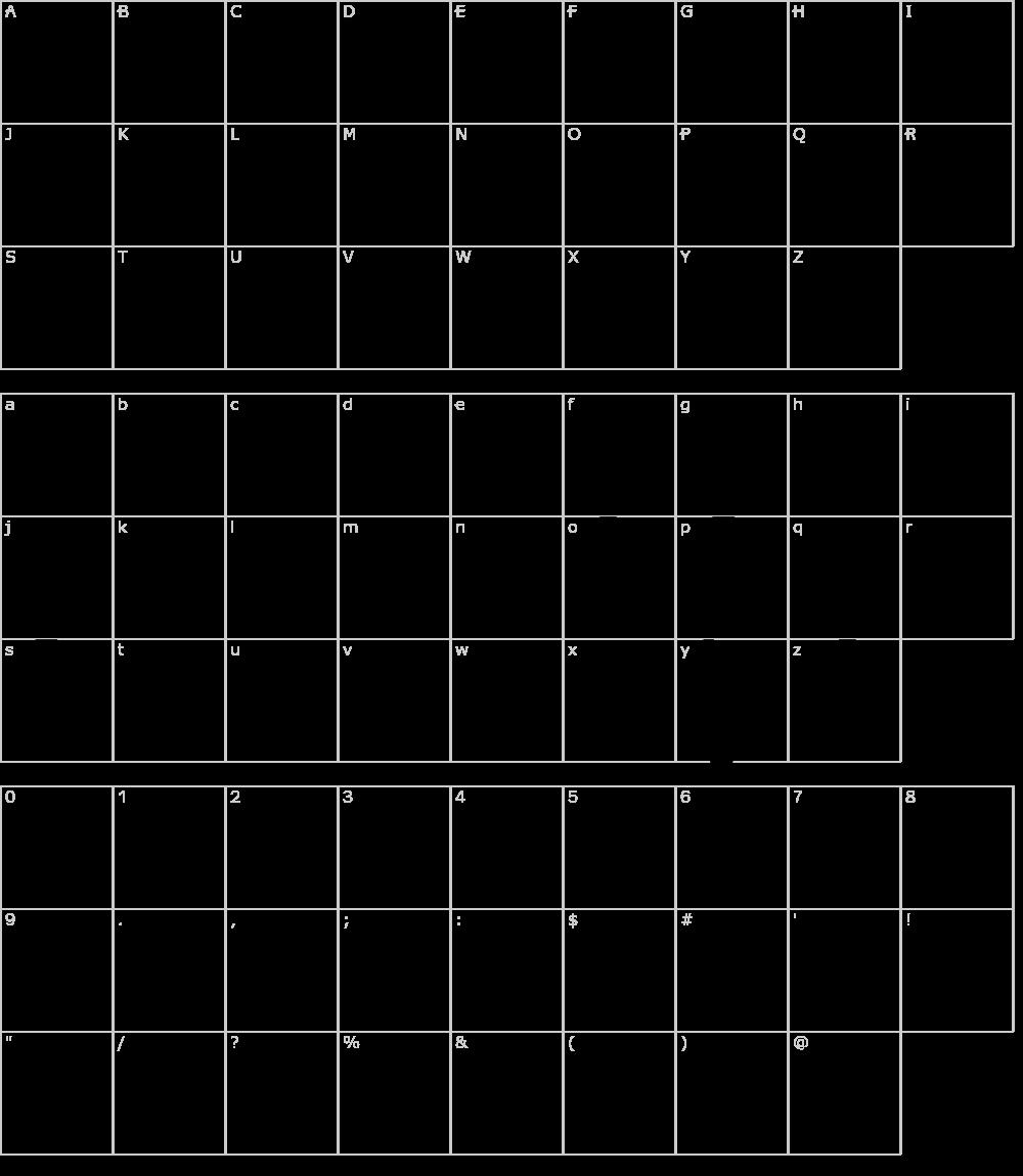 Caratteri del Font - Yackien