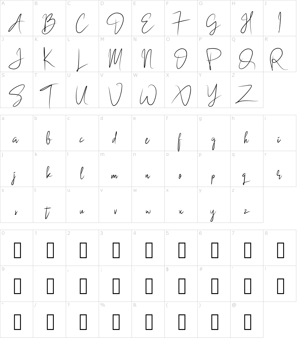 Characters: Black Singature Font