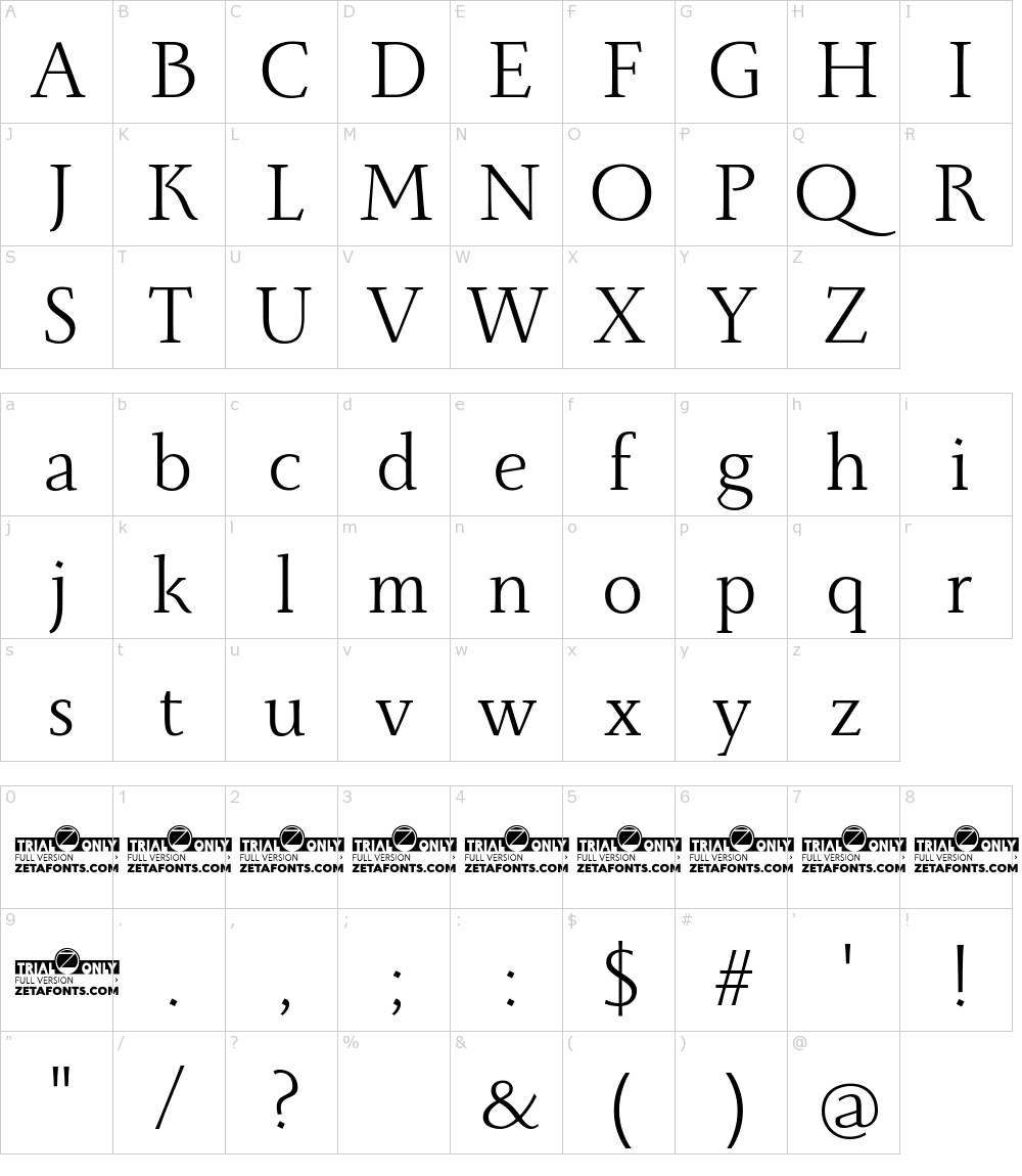 Caracteres da fonte - Monterchi Serif