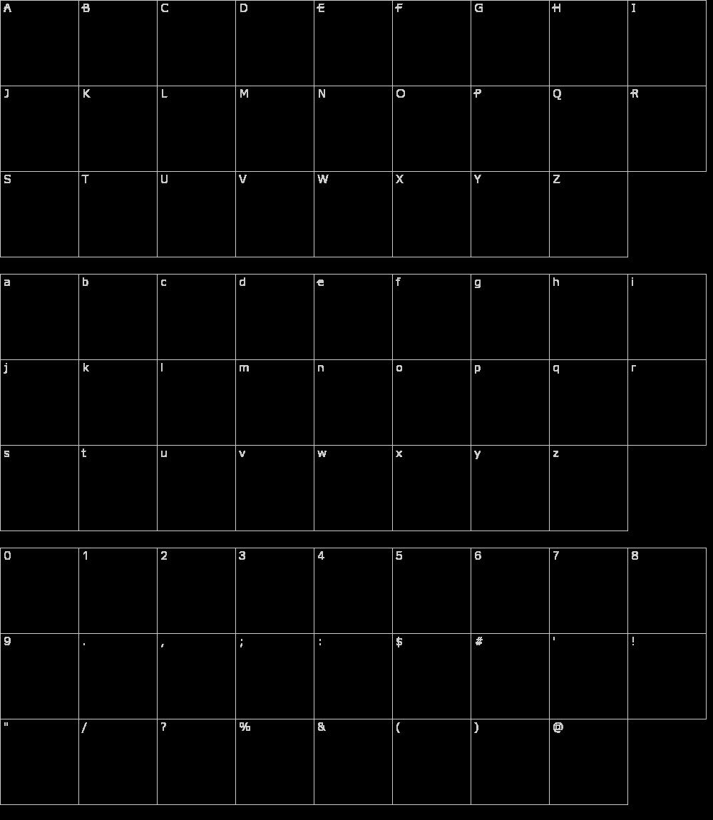 Zeichen der Schriftart: Dot Outline