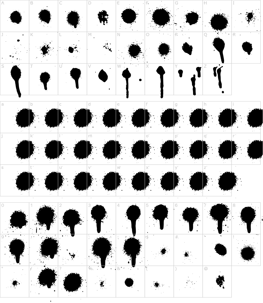 字体字符: Drips Splatters