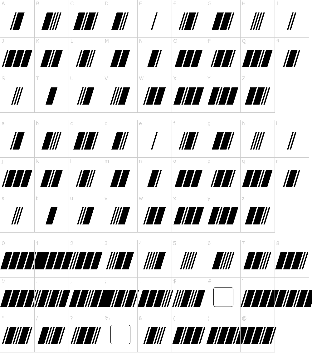 Zeichen der Schriftart: Morse Tech