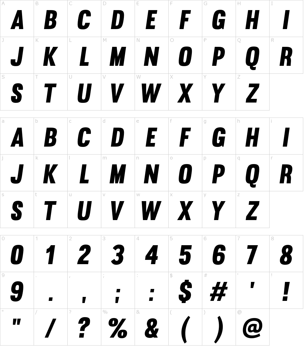 Caratteri del Font - Muro