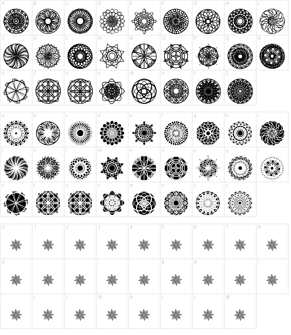 Characters: Kaleidoscopic Mind Font