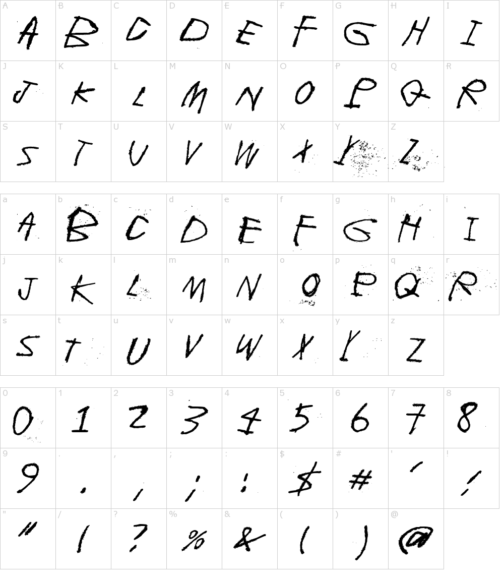 Caratteri del Font - Whispers in the dark