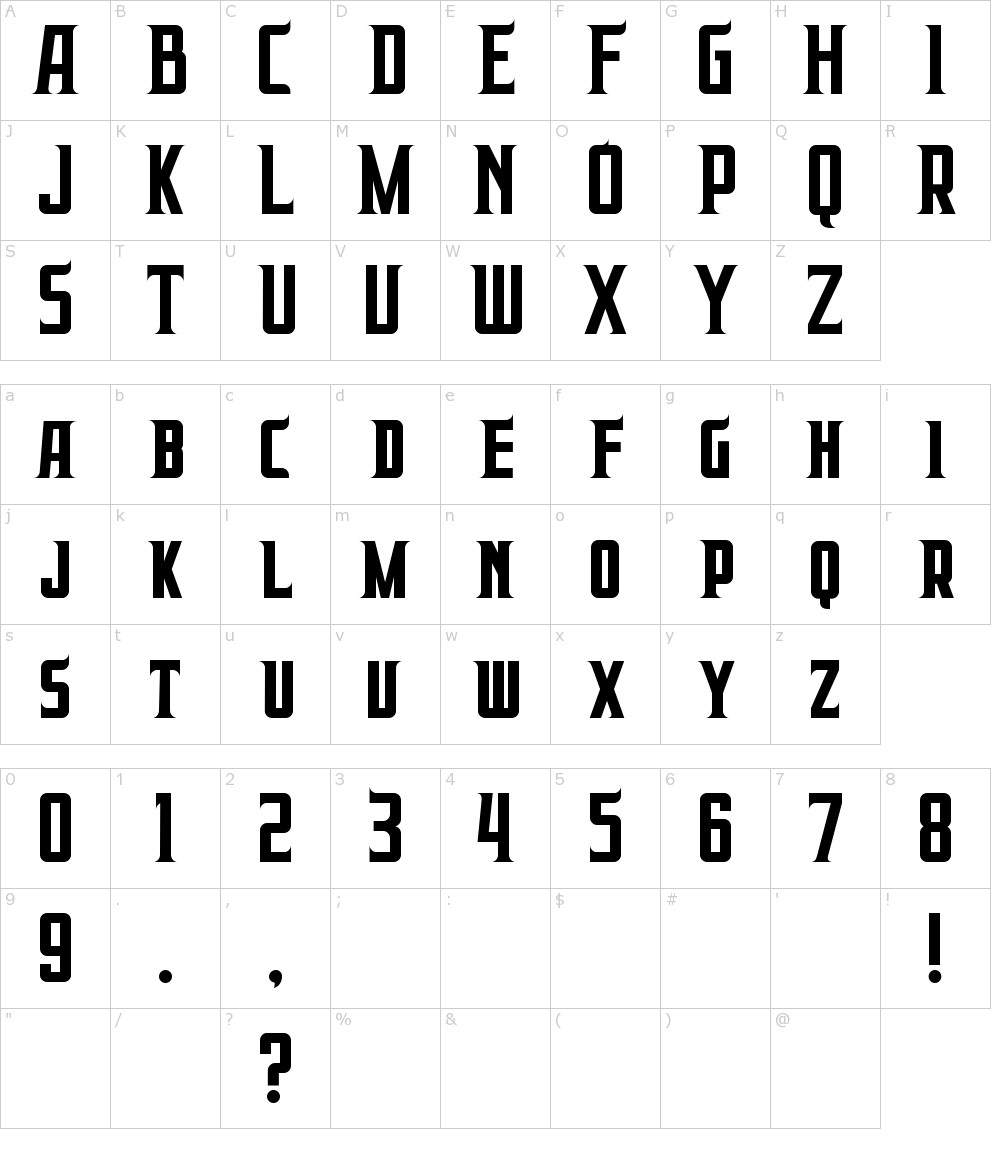 Caratteri del Font - Prabowo