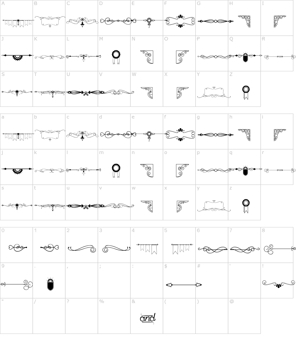 Caratteri del Font - Honey Moon
