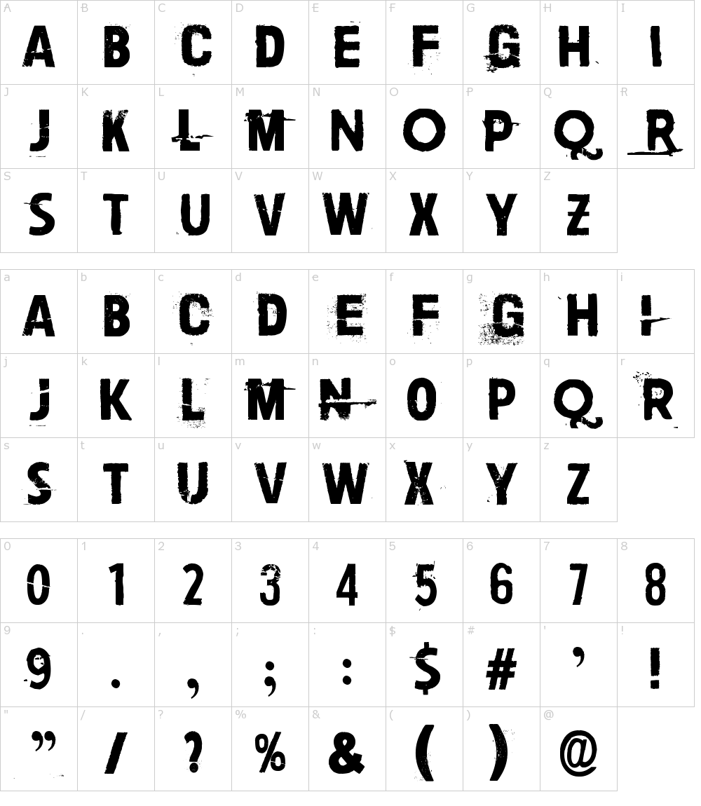 Caratteri del Font - Paljain jaloin