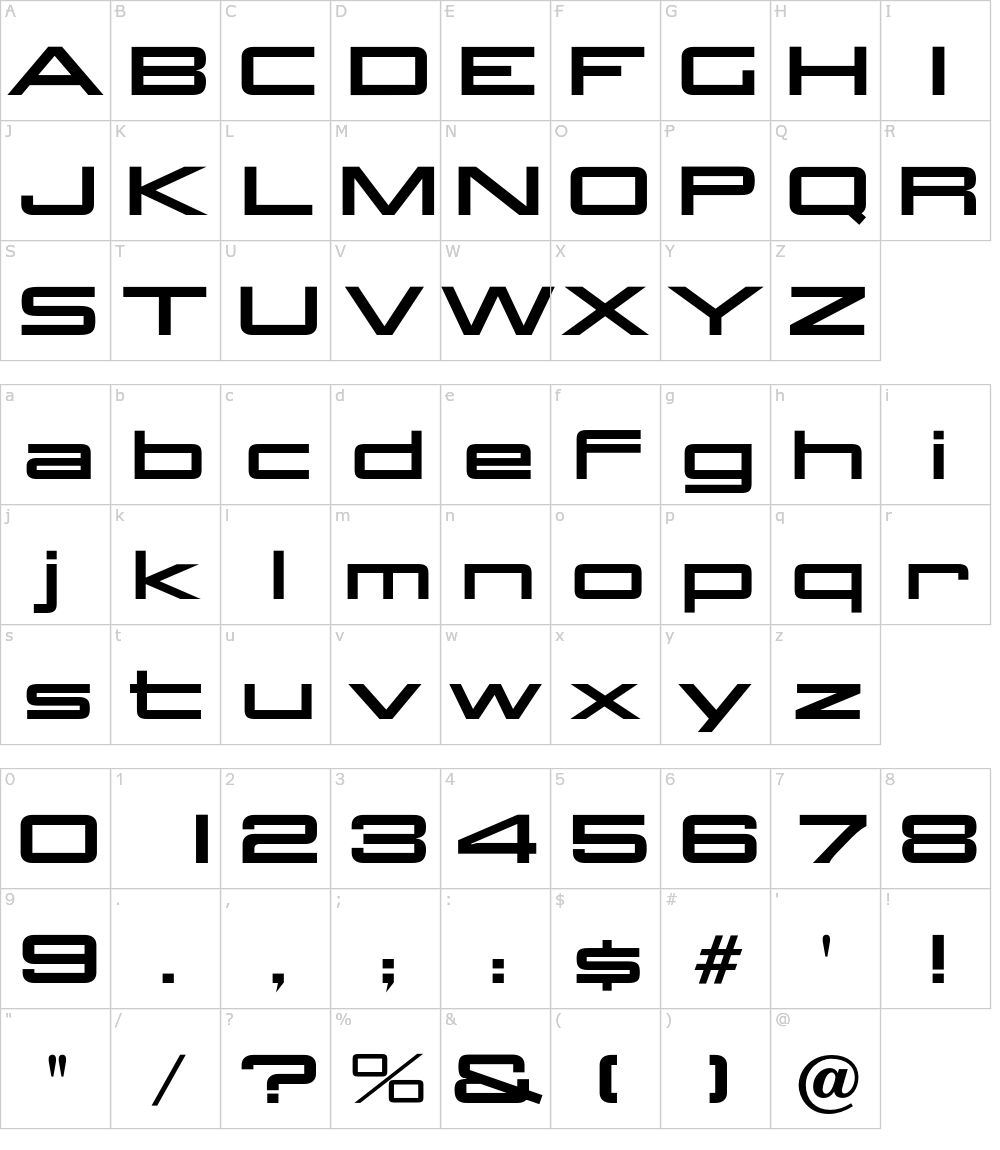 Caratteri del Font - Aggie Solid