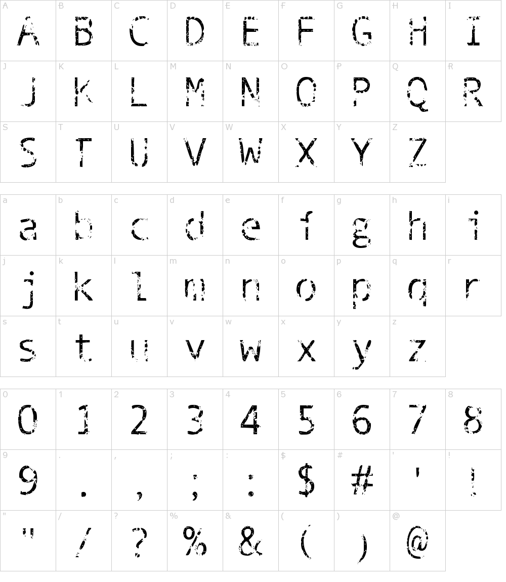 Caratteri del Font - Phantomime