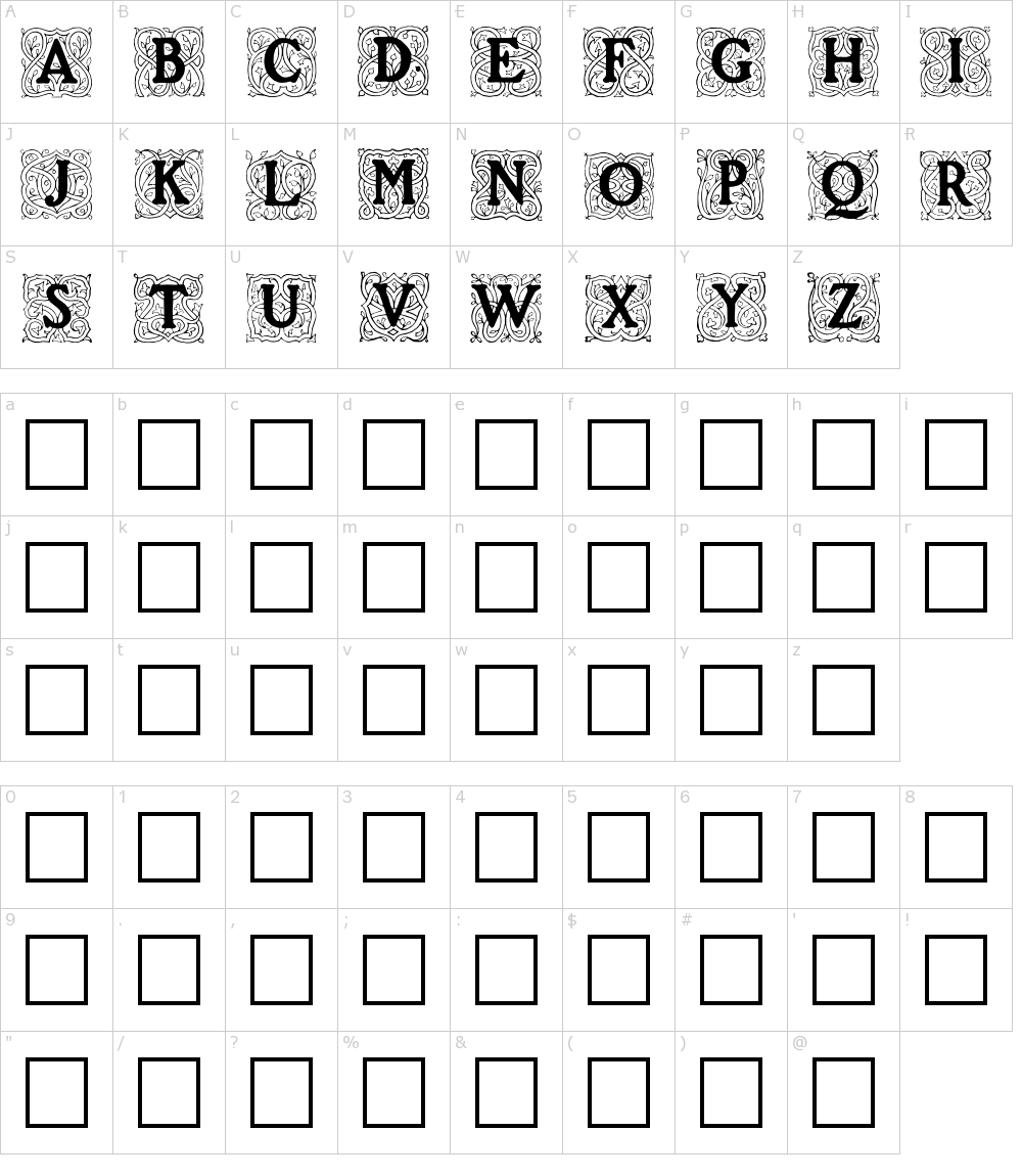 Caratteri del Font - Roycroft Initials