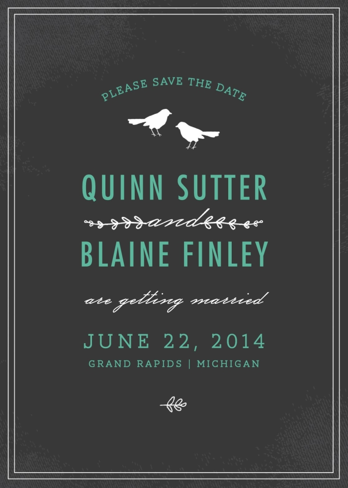 CHALKBOARD BIRDS SAVE THE DATE CARD