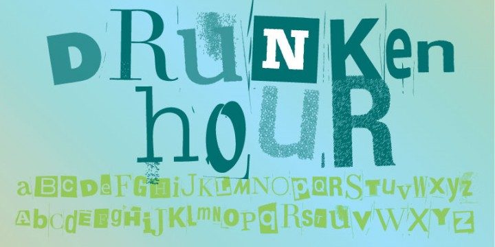 Drunken hour font ransom note
