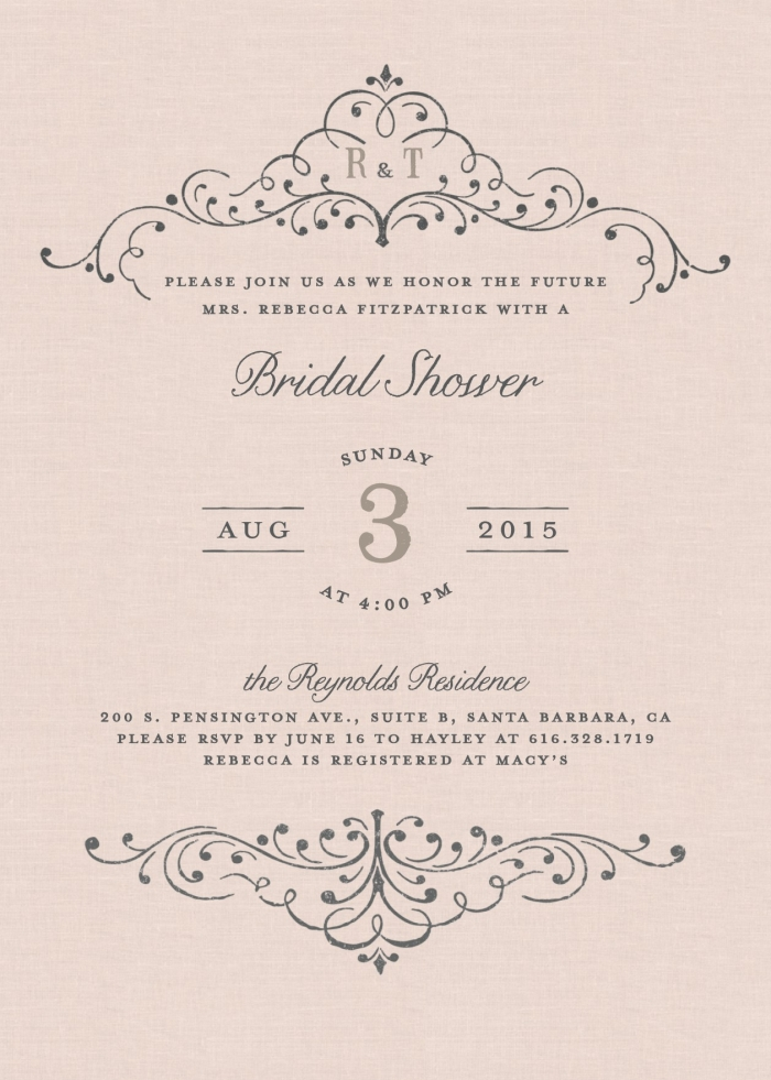 ELEGANT FLOURISH BRIDAL SHOWER INVITATION
