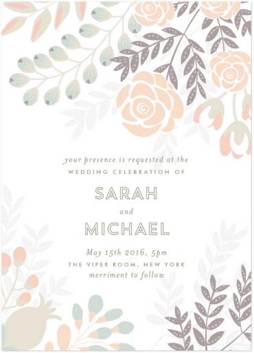 Flower Burst Wedding Invitation Featuring Trend Font