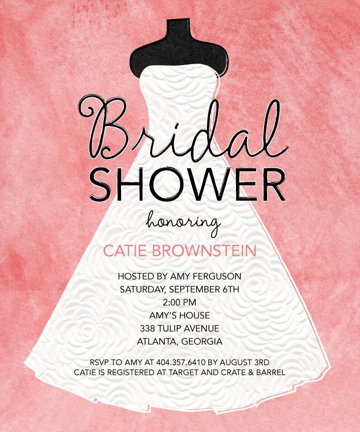 Graceful Gown Shower Invitation
