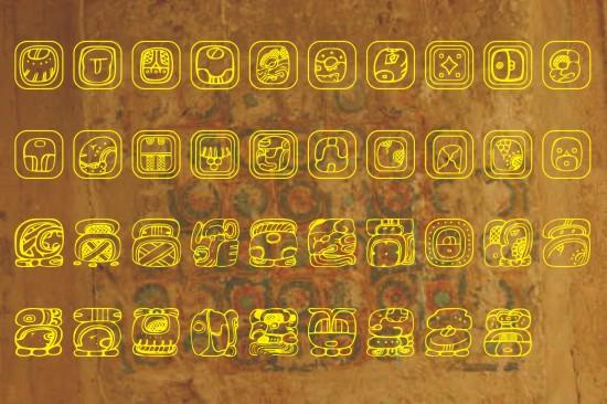 Maya Font And Maya Calendar Symbols