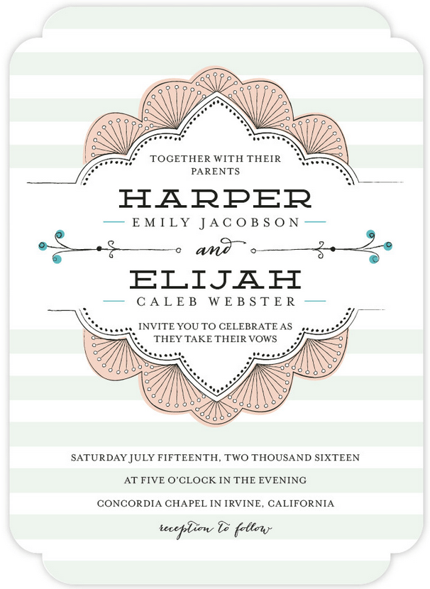 Striped Sweet Wedding Invitation Featuring Demin