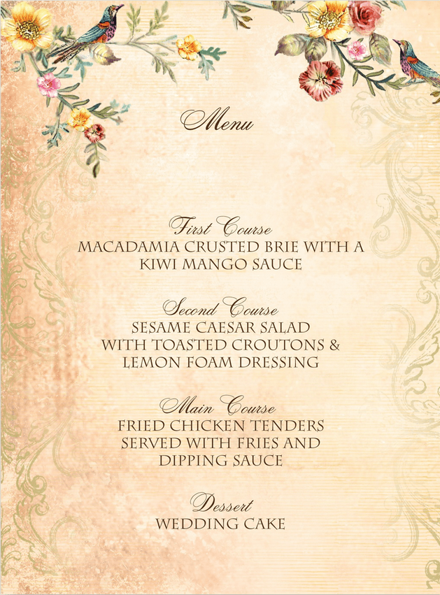 Vintage Birds Wedding Menu