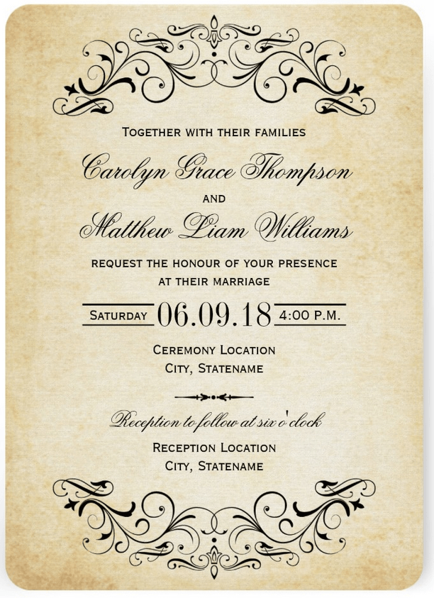 Vintage Wedding Invitation With Elegant Flourish