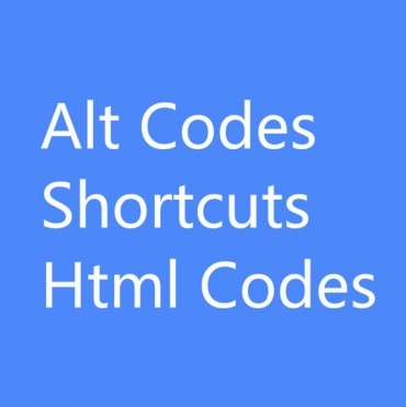 Alt Codes, Shortcuts, HTML Codes for Special Characters