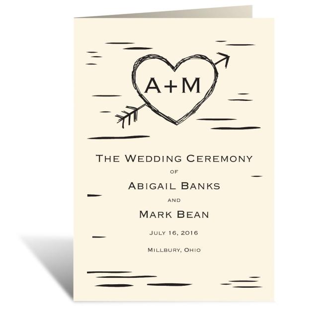 birch bark heart wedding program featuring copperplate font