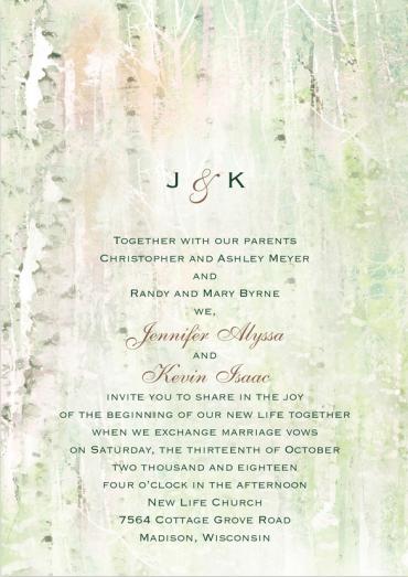 Birch Tree Wedding Invitation Featuring Shelley Script Font